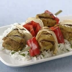 Grilled Indian Pork Kabobs with Sweet Onions and Red Bell Peppers download