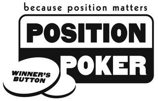 BECAUSE POSITION MATTERS POSITION POKER WINNER'S BUTTON